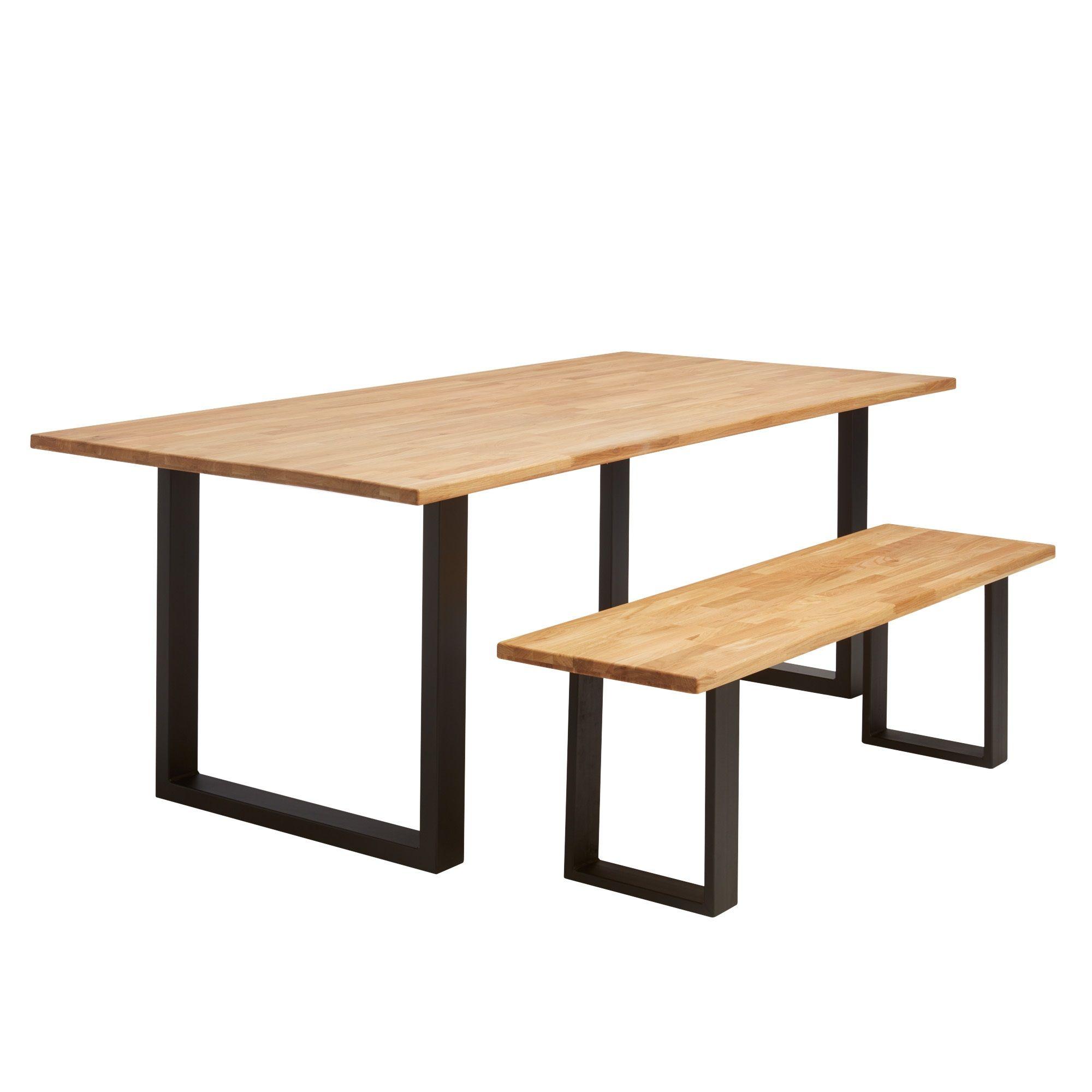 Stoere tafel met eikenhouten blad en zwart metalen onderstel Van