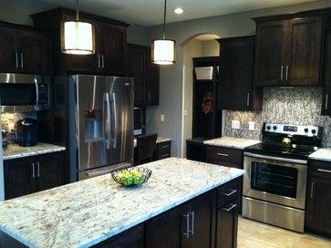 Contemporary Kitchen Dark Cabinets Greige Walls Granite