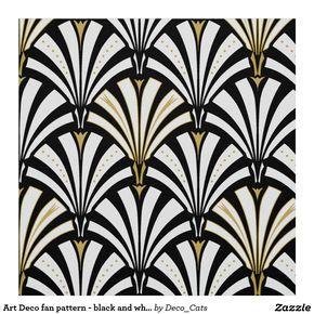Personalized Art Deco Fabric – Art Deco fan pattern – black and…