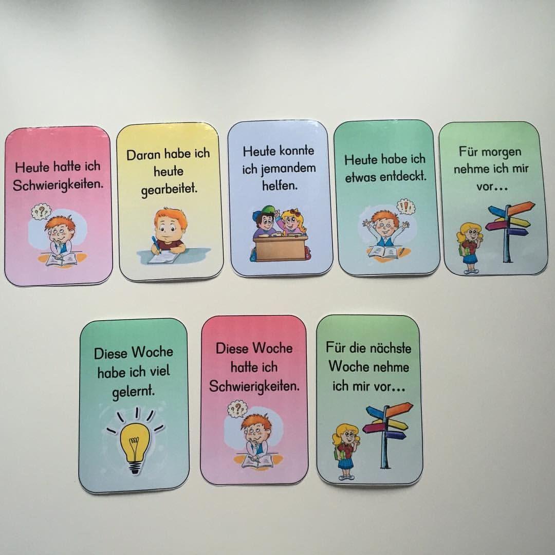 Reflexionskarten Fur Das Tages Oder Wochenende Um Den Eigenen Lernprozess Zu Reflektieren Reflexionshilfe Reflexions Lernen Grundschule Soziale Arbeit
