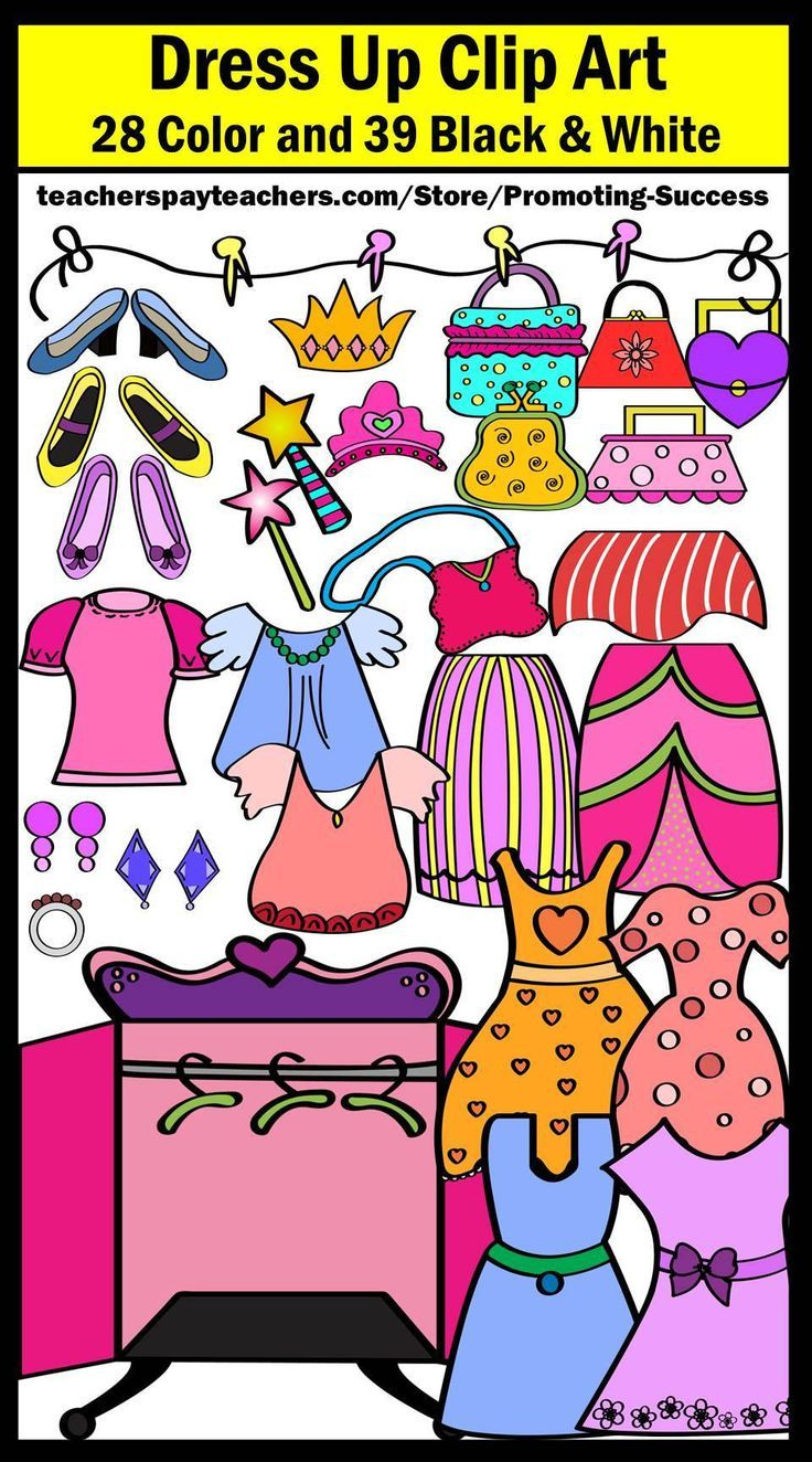 Girl clipart commercial use dress up clothes resses shoes purses