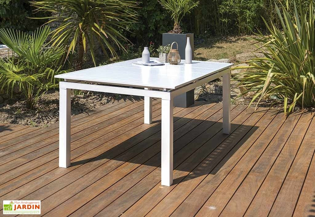 Table de Jardin avec Rallonge Mykonos Aluminium Blanc – 180 ...