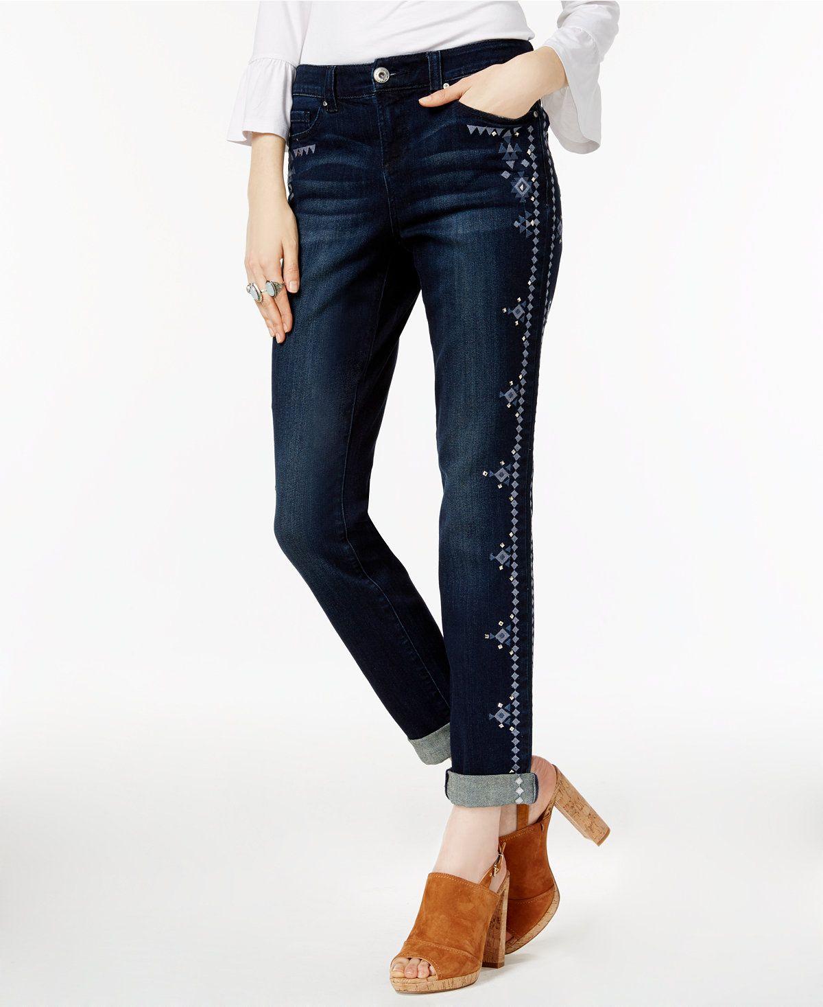 Womens Embroidered Unicorn Wash Boyfriend Jeans