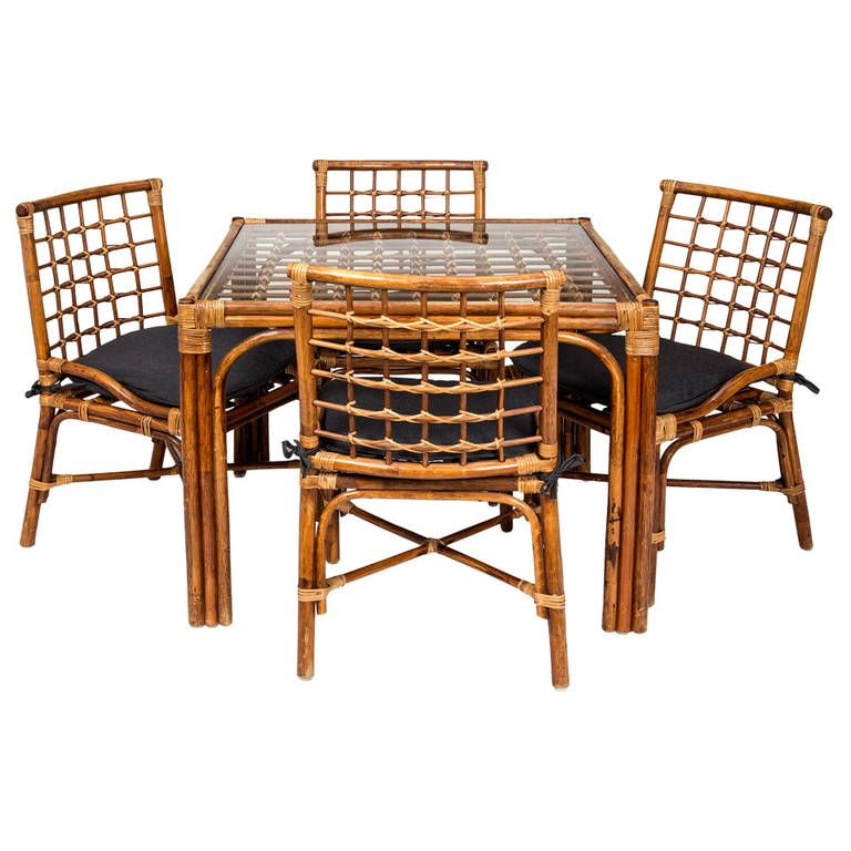 Bamboo Game Table 4Chairs Set