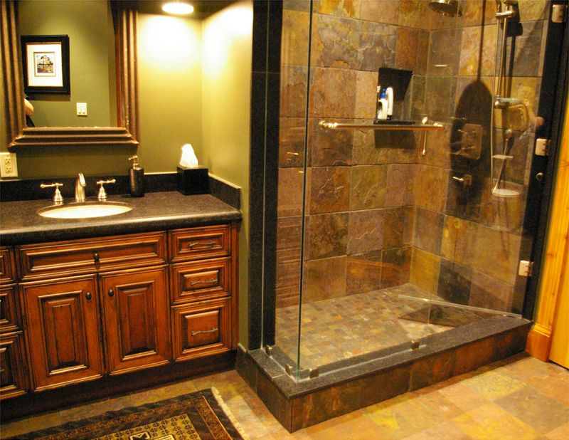 Log homes are known for their display of lots of rustic for Log cabin bathroom pictures