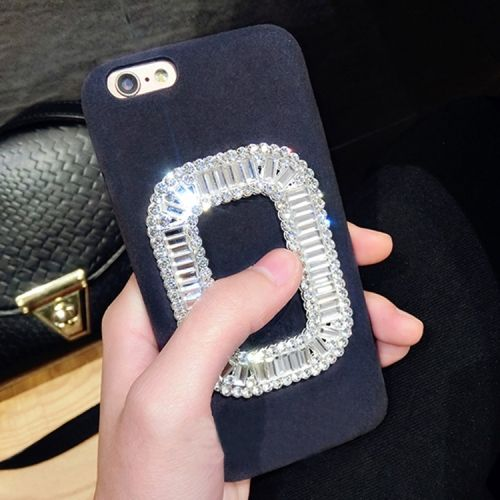 caece58e187706   2.48  For iPhone 6 Plus   6s Plus Diamond Encrusted Plush Cloth  Protective Back Cover Case(Dark Blue)