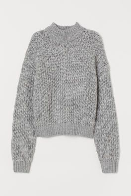 Jumper with trumpet sleeves | Womens grey sweater, Collar