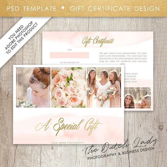 Photography Gift Certificate Template - Design #5 - INSTANT - photography gift certificate template