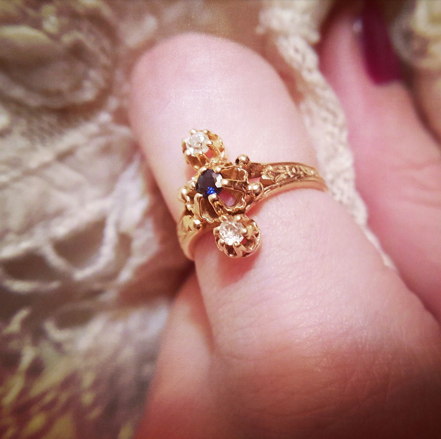 Antique Engagement Ring Art Nouveau Engagement Ring Antique Sapphir ...