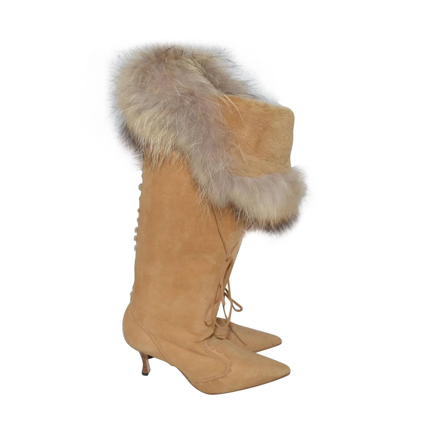 Manolo Blahnik Fox Fur Trimmed Knee-High Boots discount wide range of buy online new cheap sale low price buy cheap high quality NKmDpztg