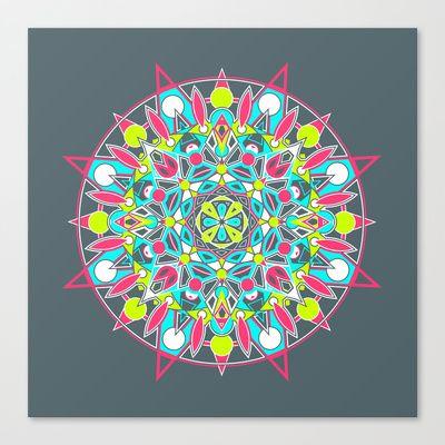 Mandala - Dark Neon Stretched Canvas by Katherine Paulin - $85.00