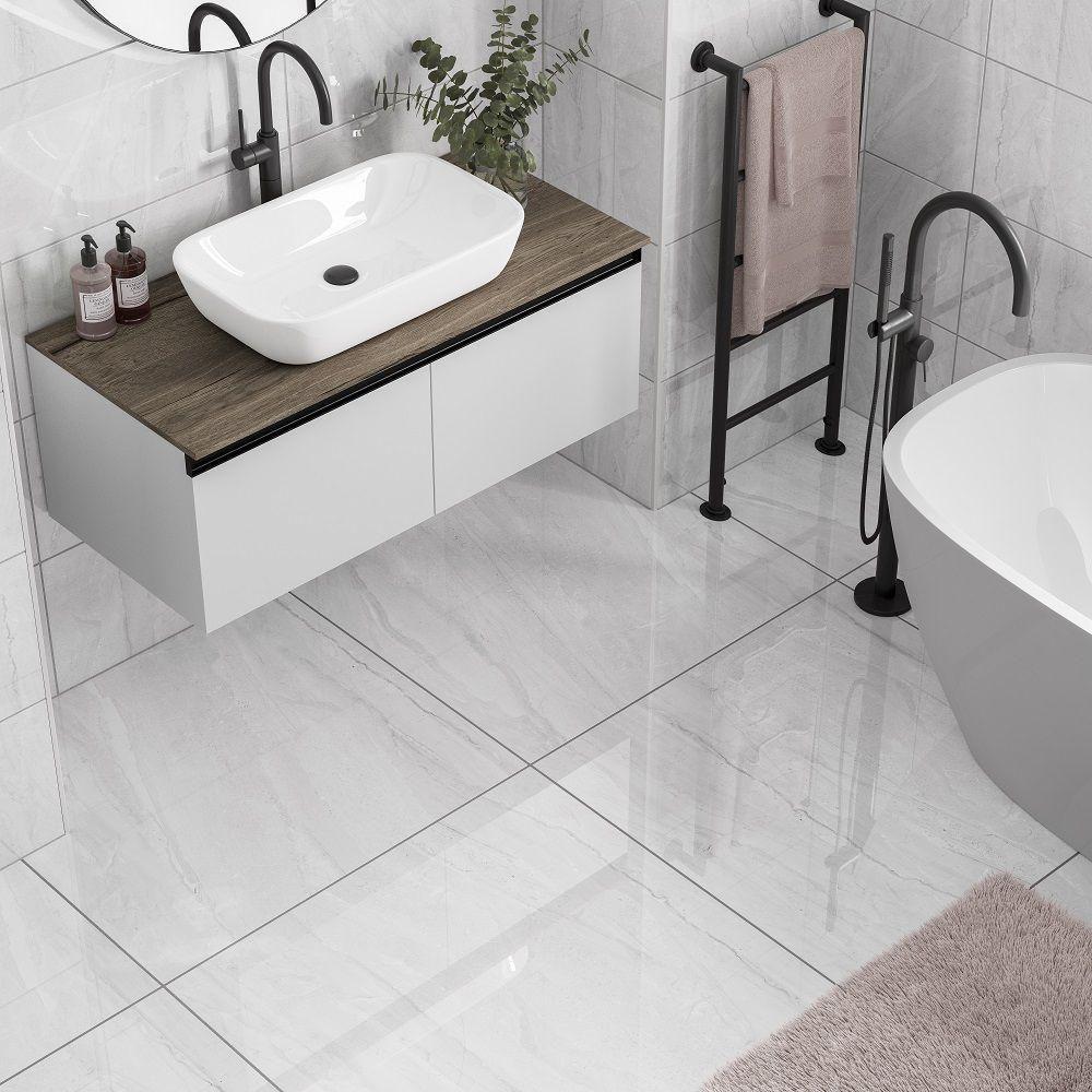 Vermont Light Grey 600x600 Tile Giant Small Bathroom Tiles Bathroom Tile Designs Grey Marble Bathroom