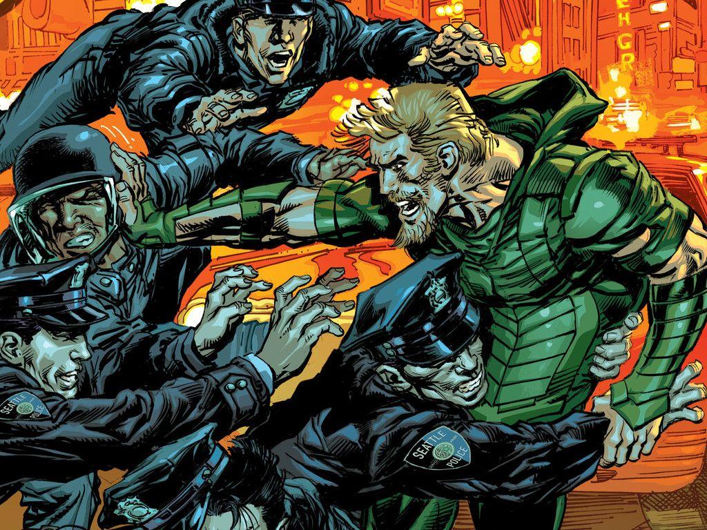 Green Arrow Fight Dc Comics Wallpaper