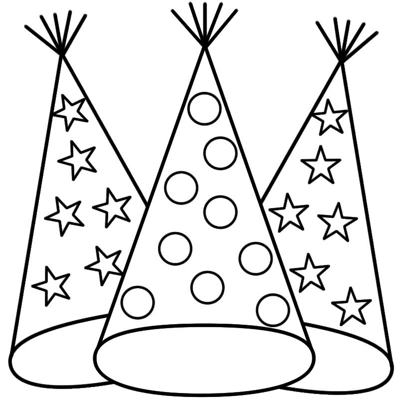 Party Hats Coloring Page New Years New Year Coloring Pages Happy Birthday Coloring Pages Birthday Coloring Pages