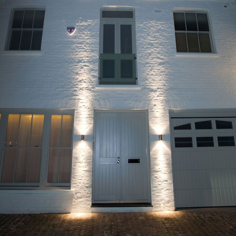 Pillar light wall mounted garden lights by front door for Exterior up and down lights led