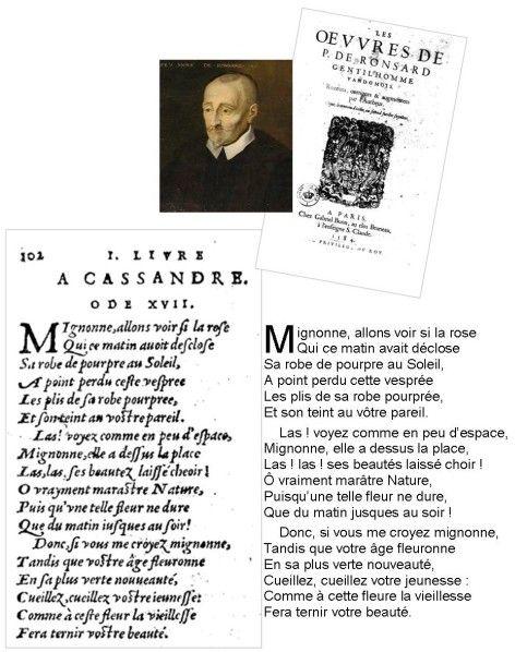 Mignonne, Allons Voir Si La Rose... Pierre De Ronsard