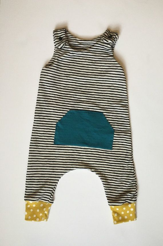 4178c1a14c1 Summer Striped And Polka Dot Pocket Harem Romper • Boy or Girl Clothing •  Outfit Sizes 0-3