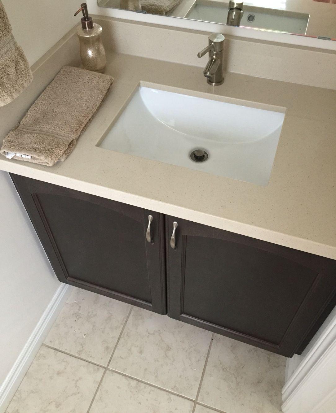 Pebble Rock Quartz Bathroom Countertop