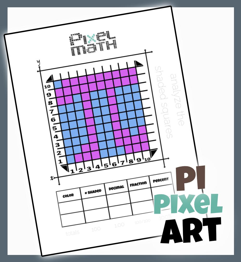 Pi Day Activity Pi Pixel Art Writing Fractions Fractions Homeschool Elementary [ 1004 x 926 Pixel ]