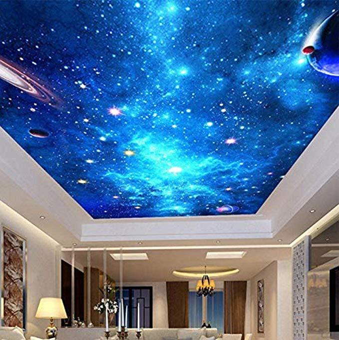 Ciel Nocturne Plafond Papier peint 3D Star Nebula Galaxy thème murales pour revêtement mural