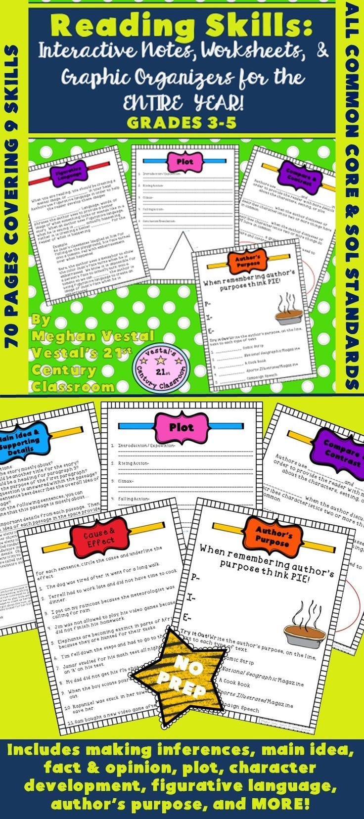Reading Skills Notes Worksheets Graphic Organizers Entire Year Grades 3 5 Reading Skills Upper Elementary Reading Graphic Organizers [ 1656 x 736 Pixel ]