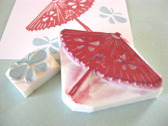 Japanese umbrella and butterfly stamp set - Hand carved rubber stamp