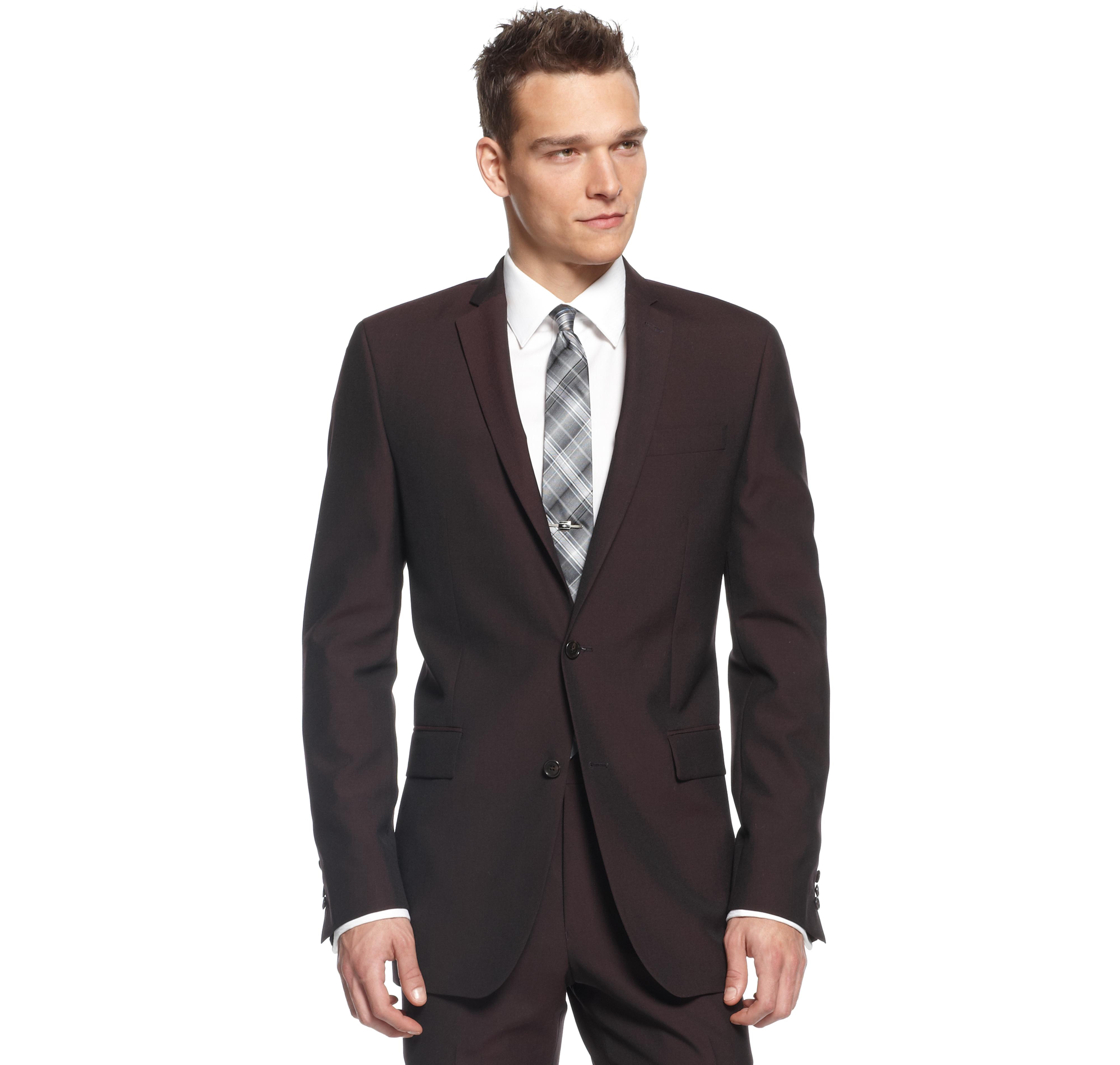 Americanas Para Hombre · Trajes Para Hombre · Calvin Klein X Burgundy Solid  Slim-Fit Jacket Moda Masculina 009548b7d40