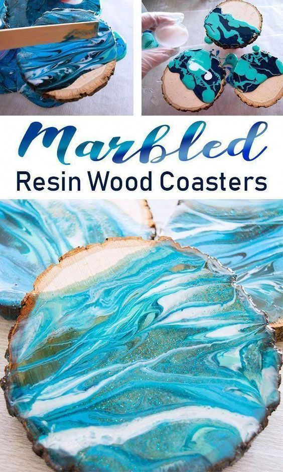 Marbled Resin Wood Coasters with EnviroTex Lite is part of Mason jar crafts diy, Wine bottle diy crafts, Resin crafts, Resin diy, Creative diy gifts, Jar crafts - Make these beautifully marbled wood coasters by pouring tinted resin  See the easy DIY Tutorial on the Resin Crafts Blog!