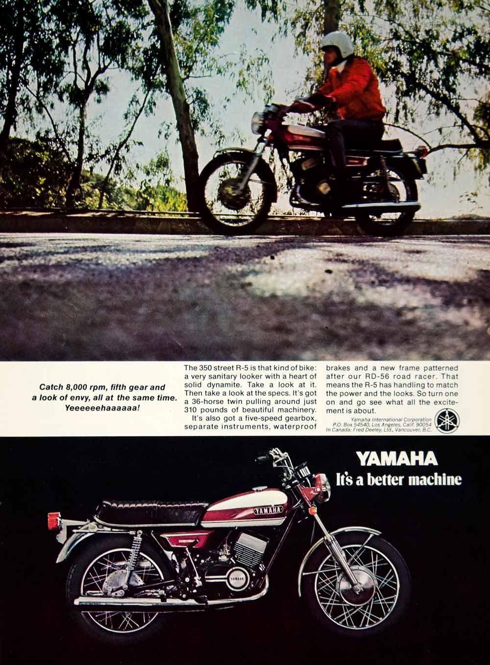 1970 Ad Yamaha R5 RD350 Classic Motorcycle Transportation