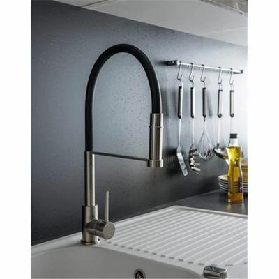 robinet douchette extractible mitigeur pour evier de cuisine inox brosse et noir bec haut mobile
