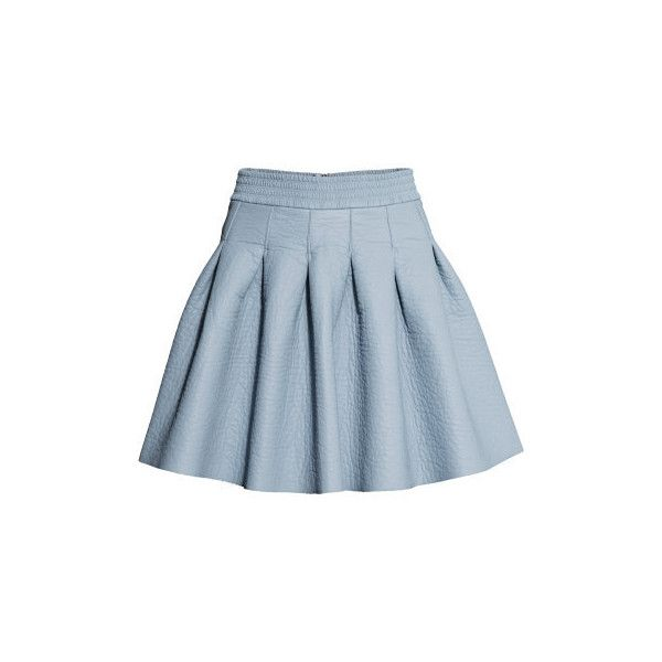 5f2b177ee4 H&M Bell-shaped skirt ($15) ❤ liked on Polyvore featuring skirts, h&m skirts,  knee length pleated skirt, pleated skirt, blue skirt and blue pleated skirt