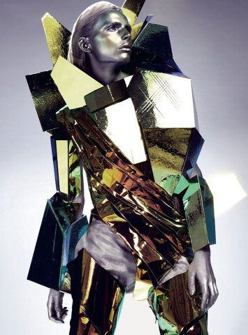 """""""Gold Digger""""   Andrej Pejic by Anthony Maule for Dazed & Confused April 2011   Body armour by Yuima Nakazato"""
