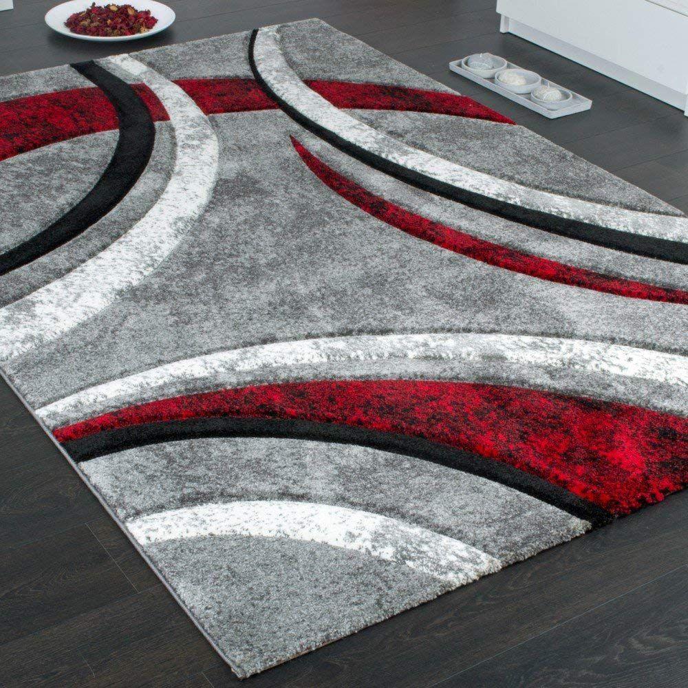 Paco Home Tapis Design A Contours Motif Ligne Mouchete Gris Noir