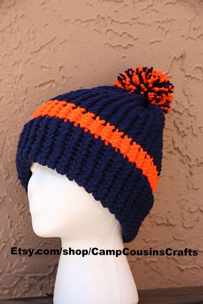 0776e446 Color idea (inverse blue & orange) for bulky yarn Broncos knit hat ...