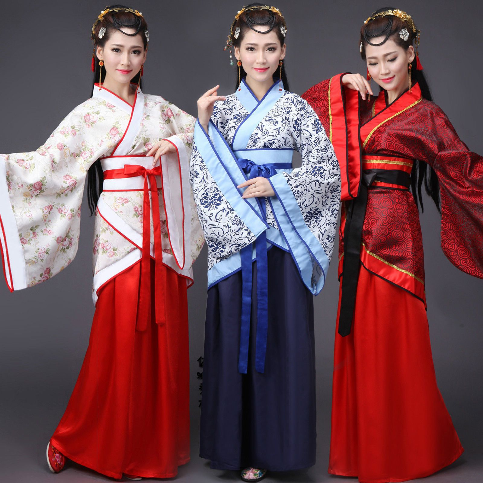 Adults Children Kids Gown Robe Chinese Ancient Mandarin Collar Stage Costume New