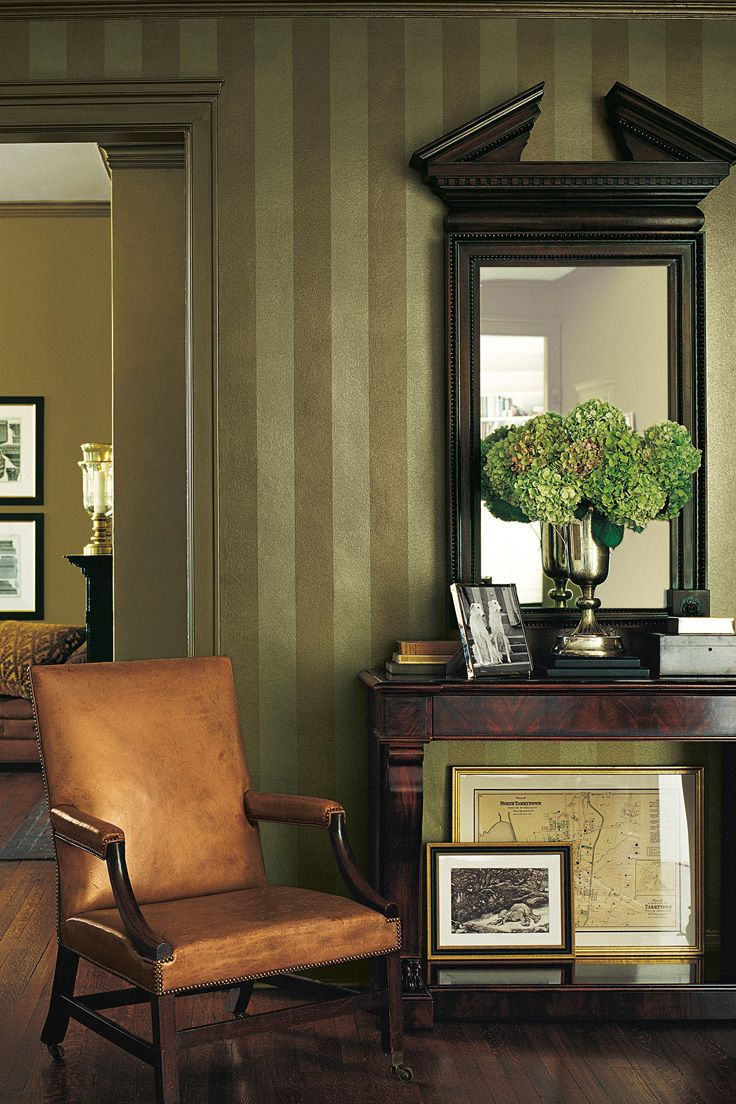 Add movement and texture to your walls with alternating stripes. Use Ralph Lauren Paint's Metallic Specialty Finish to get the look.