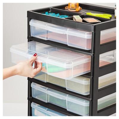 Iris 6 Drawer Scrapbook Storage Cart With Organizer Top Black
