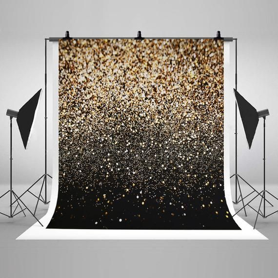 Photo of Golden and black glitter photography backdrops wedding photo backgrounds for studio props