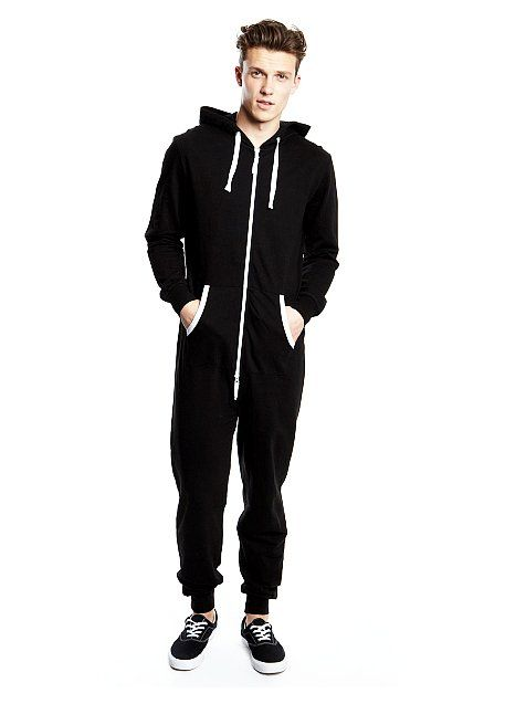 04bfa58fe Mens Black Hooded Onesie $46 Black jersey onesie with hood and two-way zip.