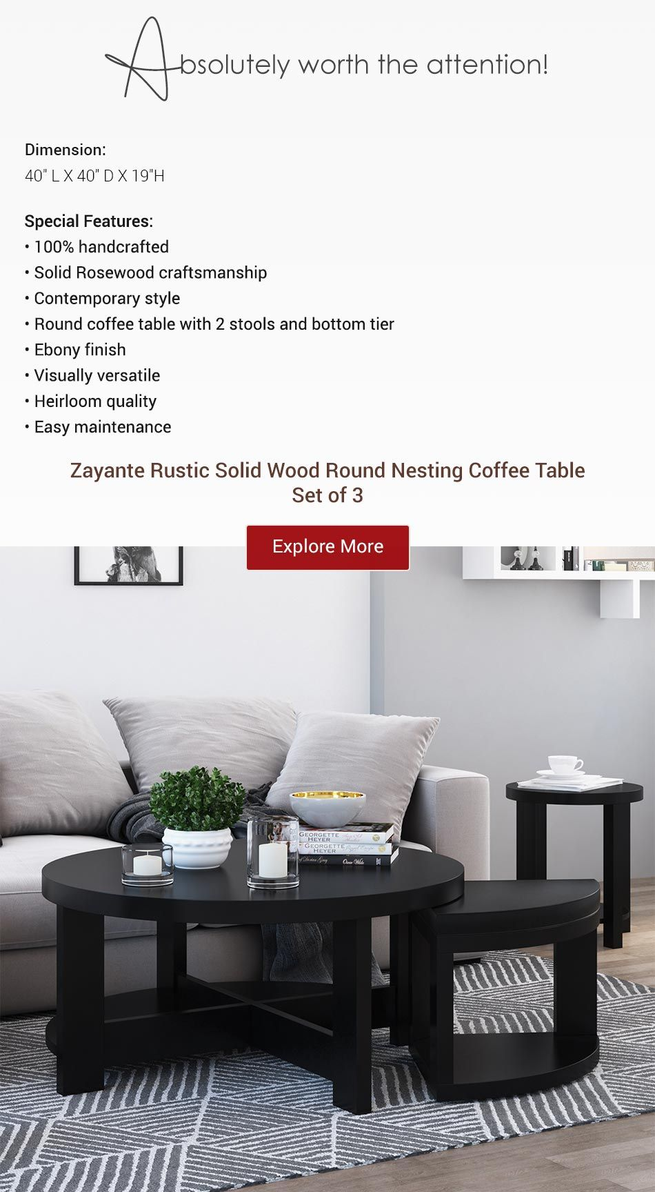 Zayante Rustic Solid Wood Round Nesting Coffee Table Set Of 3 Coffee Table Round Nesting Coffee Tables Nesting Coffee Tables [ 1728 x 950 Pixel ]