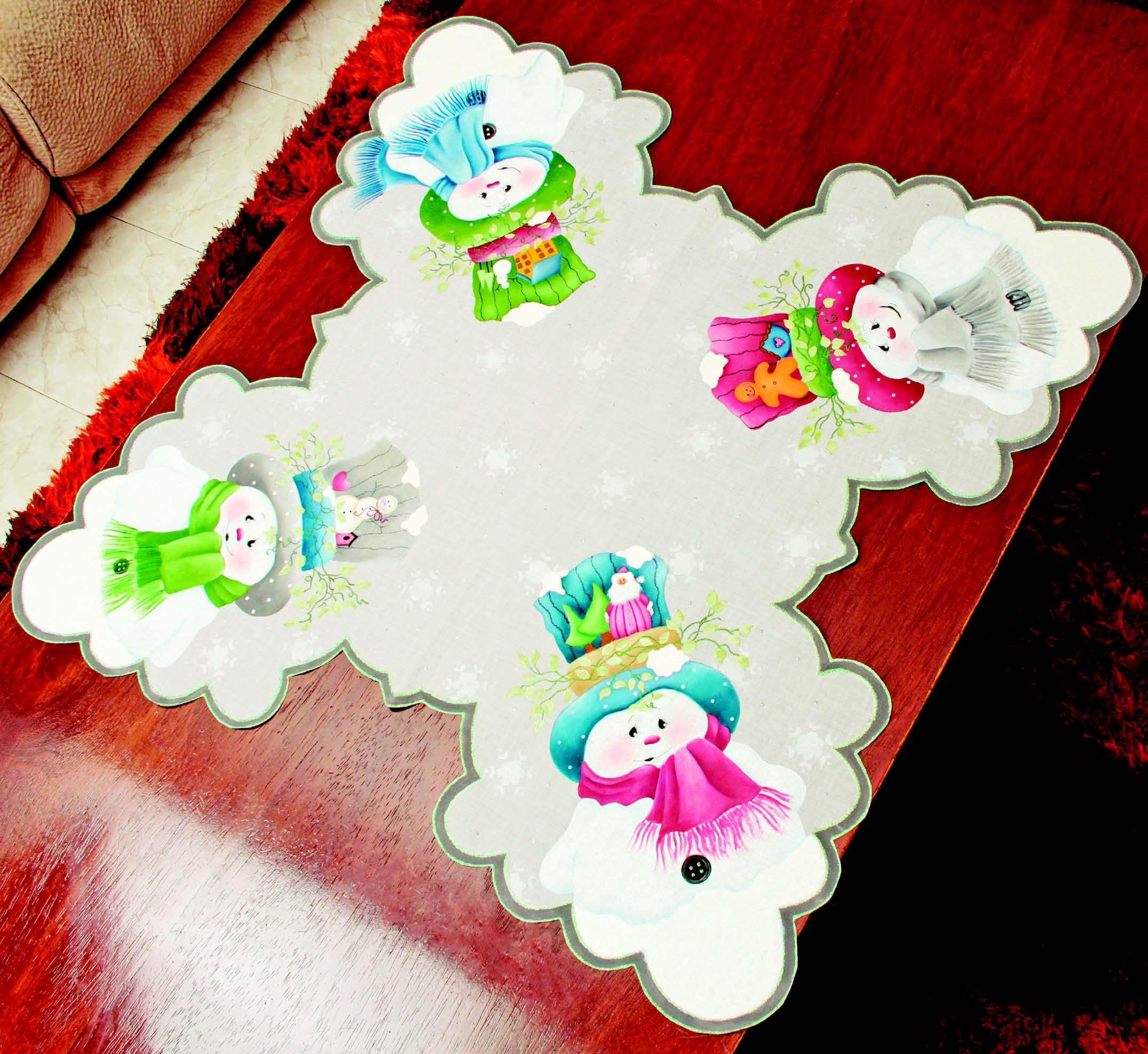 camino de mesa con muecos de nieve revista roel imagina y crea magia