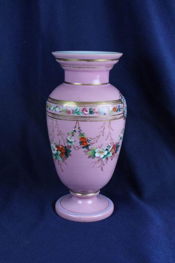 """Victorian Pink Cased  9"""" Floral Vase W/ Floral Swags • CAD 78.45"""