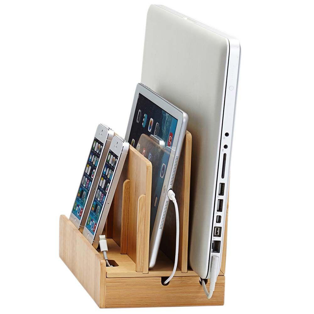 Multi Device Charging Station And Dock Eco Friendly Bamboo