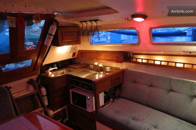 Cozy liveaboard galley living on a sailboat pinterest cozy boating and sailboat living for Boat interior restoration near me