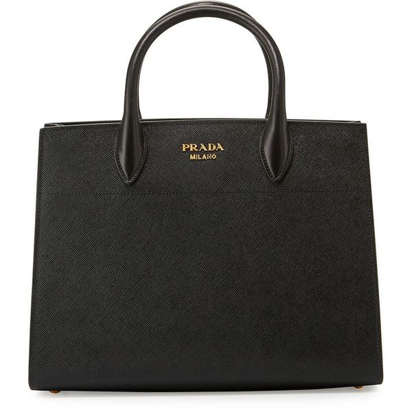 c7f64d012 Prada Biblioth&que Medium Saffiano Top-Handle Tote Bag (28195 MAD) ❤ liked  on