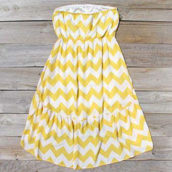 Drifter Chevron Dress in Yellow, Sweet Women's Bohemian Clothing