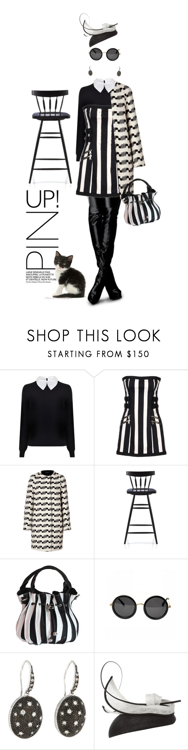 """Stripe trip"" by pensivepeacock ❤ liked on Polyvore featuring Carven, Balmain, Akris, Crate and Barrel and Suzanne Bettley"