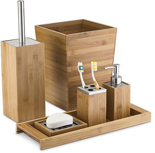 Home Basics Natural Bamboo Bathroom Accessory Sets Includes Lotion Soap Dispenser Toothbrush Holder