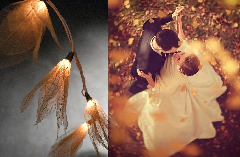 Natural Leaf String Lights Married Couple Dancing Among The Foliage. Absolutely stunning.