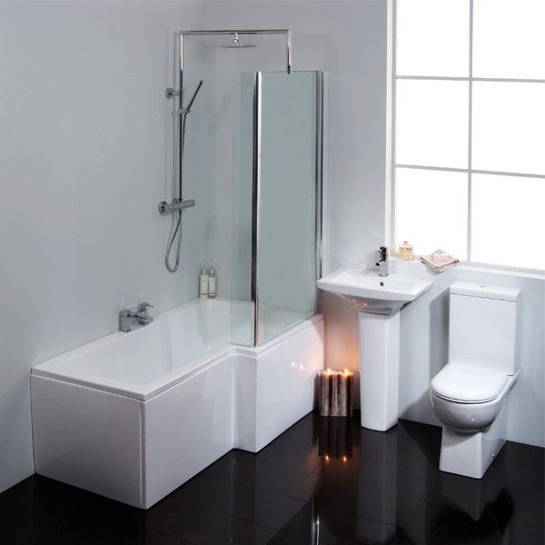 A Verona left hand L-shaped shower bath combined with Modena WC and ...